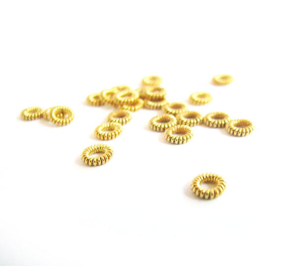 Gold Vermeil Coil Spacers 10 pcs Very Pretty 4.8mm SP212 small coiled donut heishi bead spacers