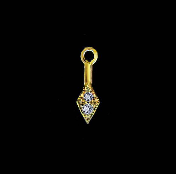 Gold Vermeil Pinch Bail with Cubic Zirconia 8mm Diamond Shaped 1 pc BL106-YV