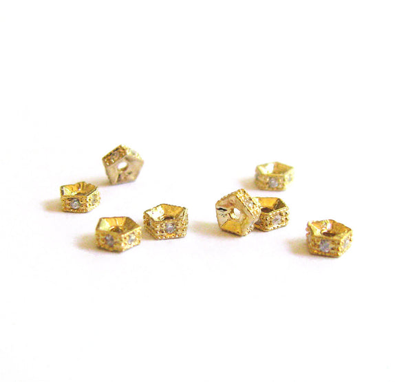 Gold Vermeil cz Spacer 4mm 2 pcs Small Cubic Zirconia Pave Pentagon Spacer Bead