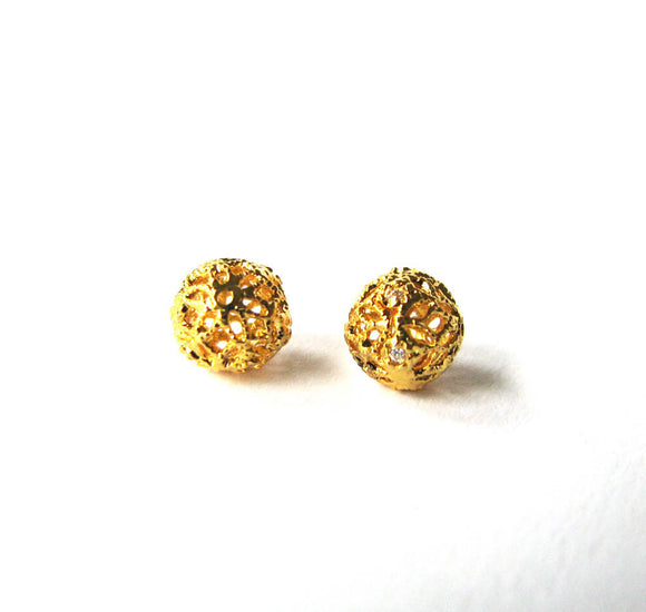 Gold Vermeil CZ Beads 6mm round 1 pc Round Cubic Zirconia Filigree Bead B212-YV