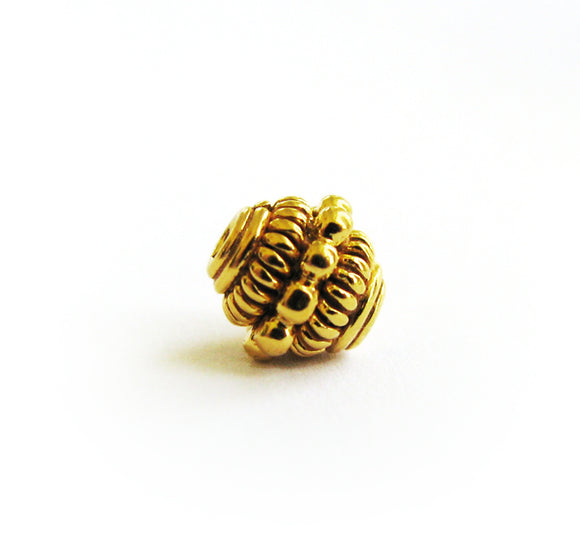 Gold Vermeil Bead 2 pcs Granular Coiled 6mm Accent Bead Gold Plated Silver Jewelry Component B213-YV