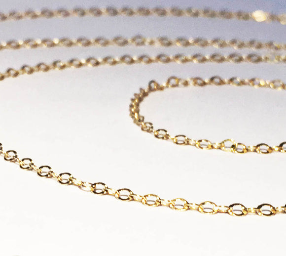 NEW! Gold Vermeil Flat Oval Cable Chain 2mm Shiny Petite Chain Per Foot