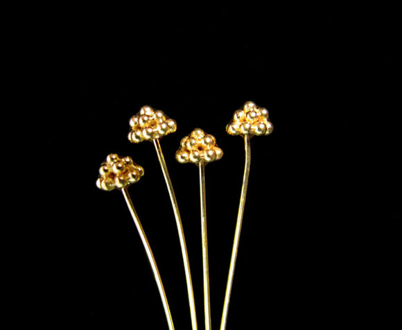 NEW! Gold Vermeil Granulated Headpin 2 pcs 72mm HP407