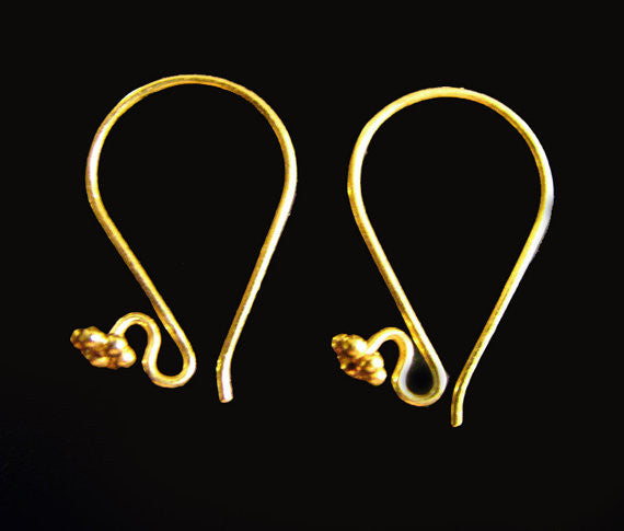 Gold Vermeil Ear Wires 1 pair 23mm Granulated Daisy Earwires EW209
