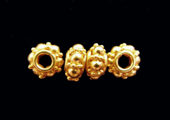 Fancy Gold Vermeil 8mm Spacers 4 pcs SP214 artisan granulated bubble dot spacer beads