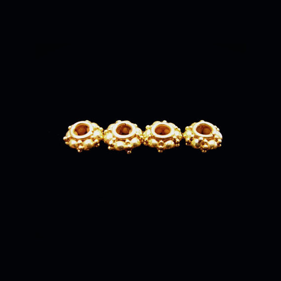 Fancy Gold Vermeil 5mm Spacers 4 pcs SP206 artisan granulated bubble dot spacer beads