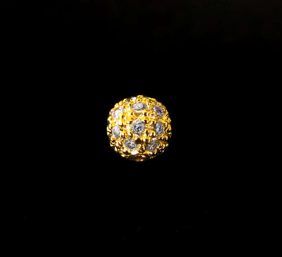 1 pc Round CZ Bead 6mm Gold over Sterling Silver Textured Gold Vermeil Bead with Cubic Zirconia Crystals B114-YV