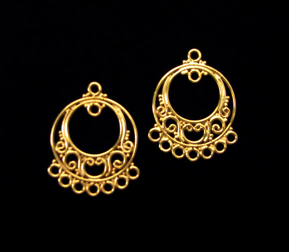 Vermeil Chandelier Earring Component 2 pcs Round Scroll 28.5 mm C1102-YV
