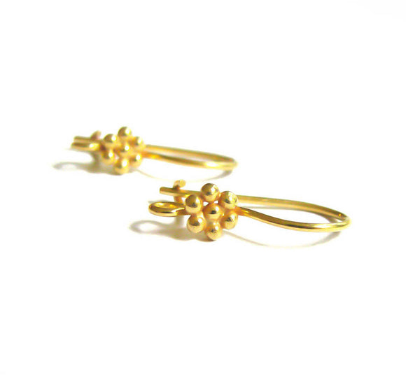 Gold Vermeil Kidney Ear Wires 1 pair Granulated Daisy Earwires