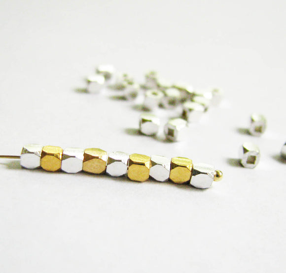 Gold Vermeil 2mm Bead Faceted Square 10 pcs B204-YV