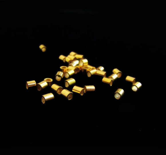 Gold Vermeil Crimp Beads 2mm Tube Spacer 10 pcs B002-YV