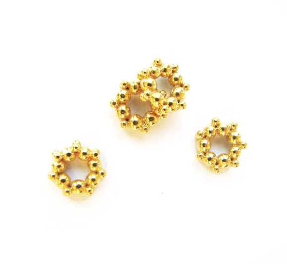 Gold Vermeil Fancy 8.5mm Beads 2 pcs Granulated Donut Beads