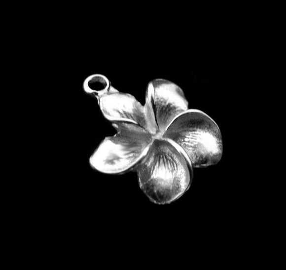 Plumeria Flower Charms 1 pc Sterling Silver Charm 17mm CH210SO