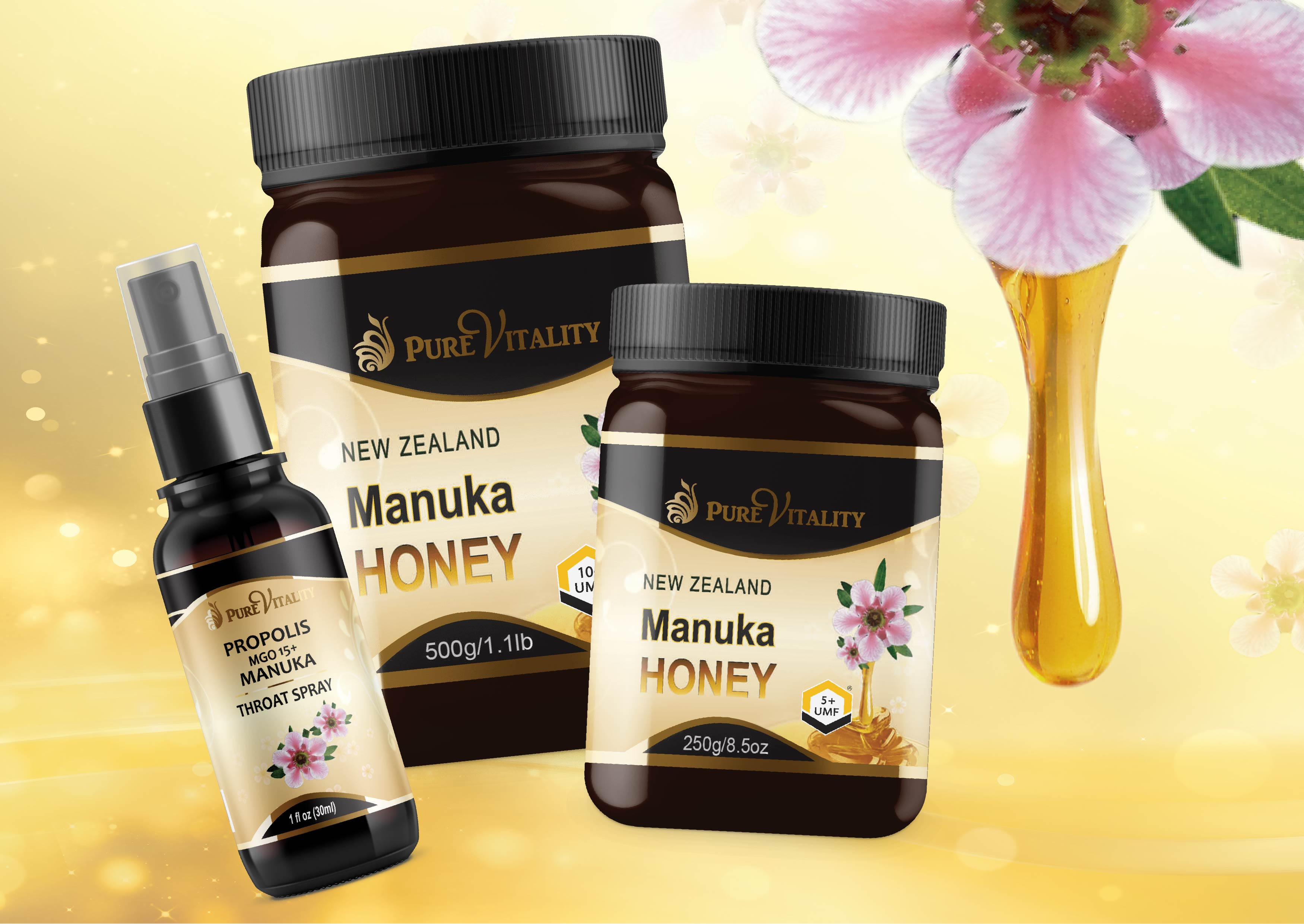 Premium UMF® 15+ Manuka Honey 250g - Pure Vitality Limited