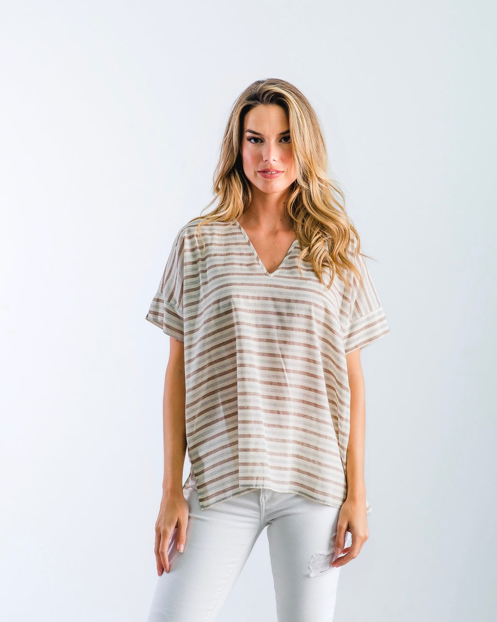 The Nicole - Sand Stripe Cotton