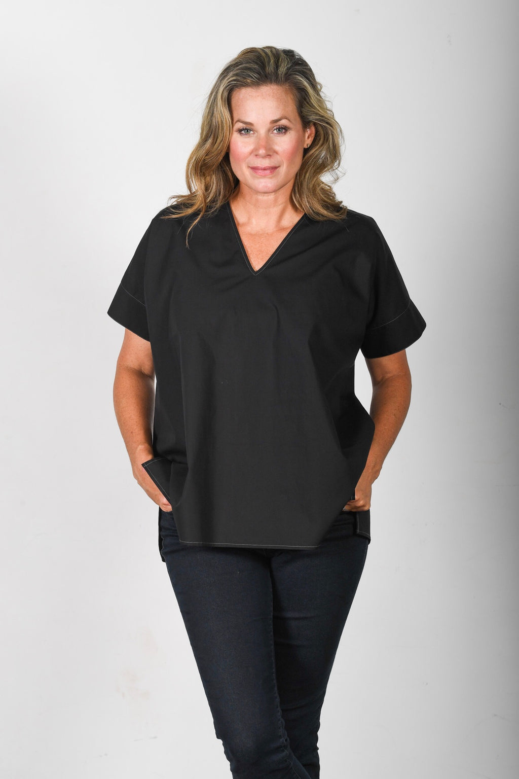 The Nicole - Black Poplin