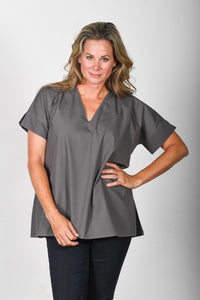 The Nicole - Charcoal Poplin