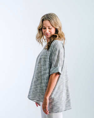 The Tikaa - Charcoal Heather Stripe Cotton