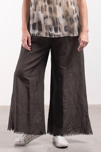 The Fringe Pant - Off Black Linen