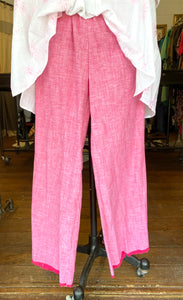 The Fringe Pant - Pink Chambray Cotton