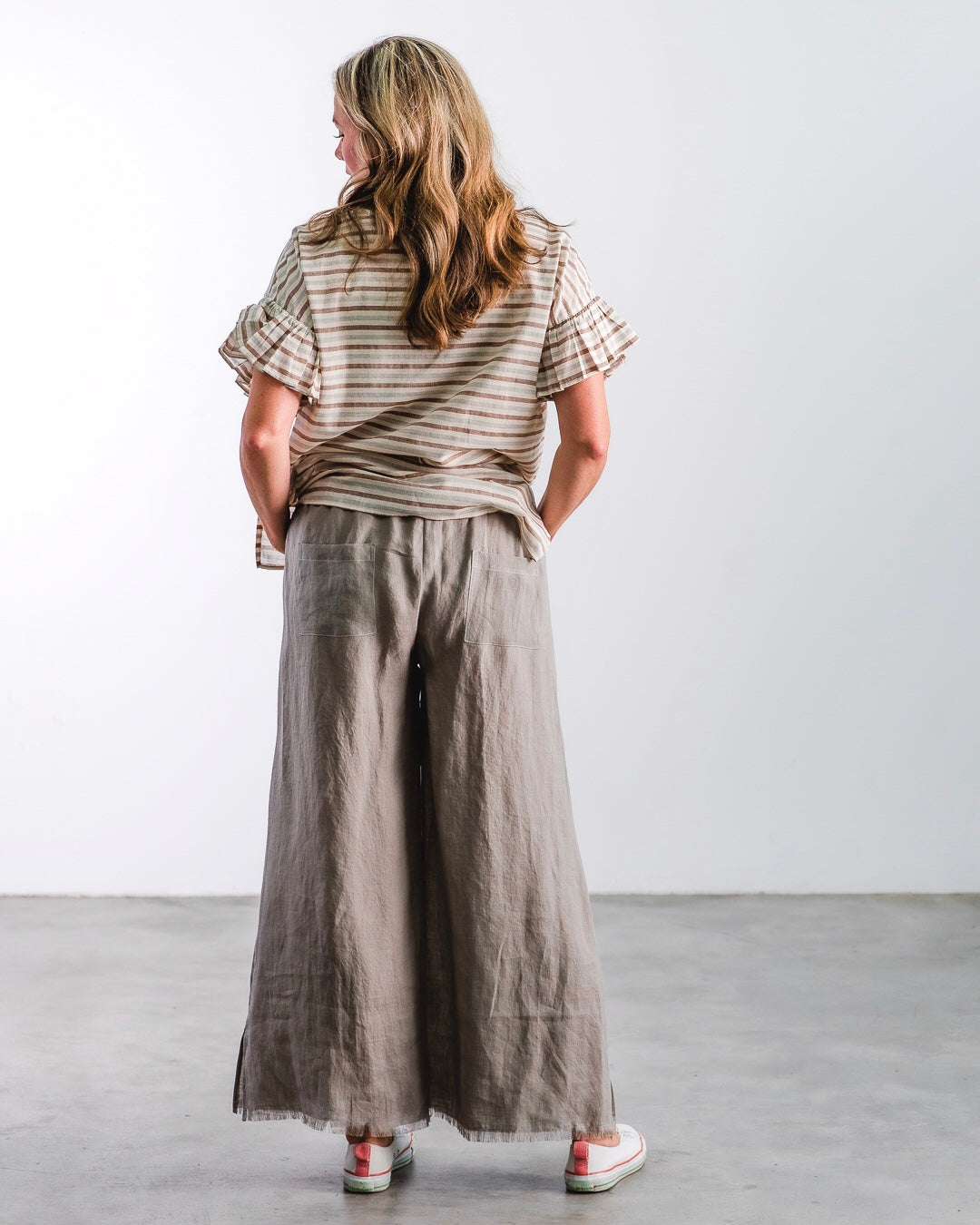 The Fringe Pant - Silver Linen