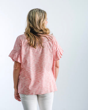 The Marie - Red Heather Stripe Cotton