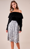 Linor Eyelash Off The Shoulder Sweater