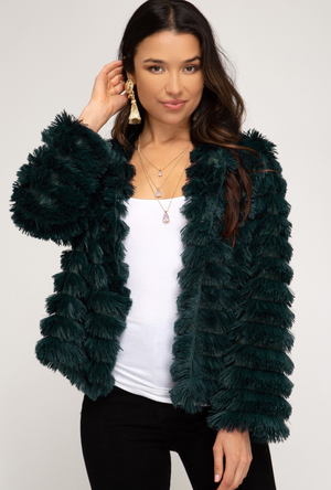 Fuzzy Wuzzy Jacket in Peacock