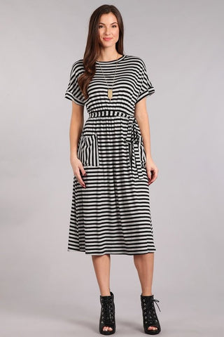 Stripe Midi Dress - Black with Gray Stripe