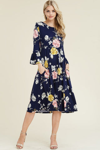 Black Floral Midi Swing Dress