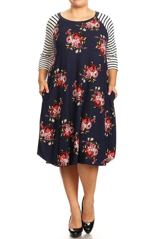Navy Floral Swing Dress - Curvy Girl