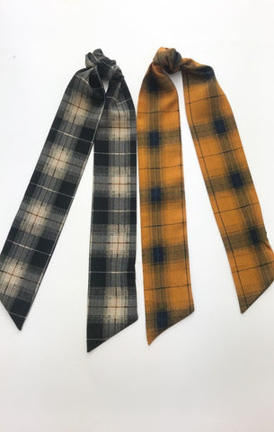 Plaid Hair Scarf - Charcoal or Mustard