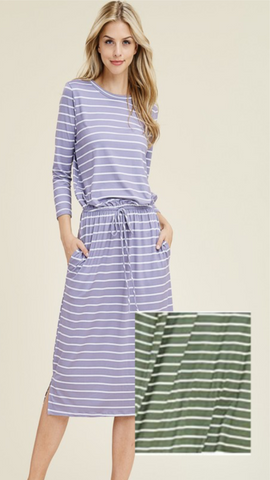 Olive Stripe Midi Dress