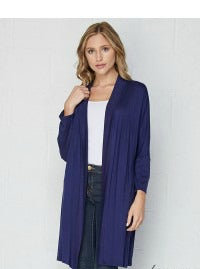 Long Open Cardigan - Navy