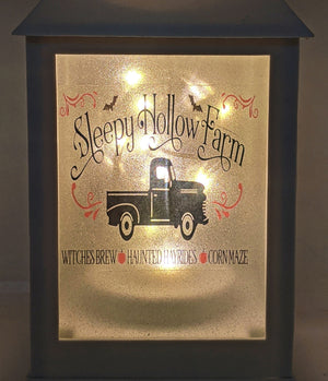 Vintage Truck Fall Themed LED Lantern