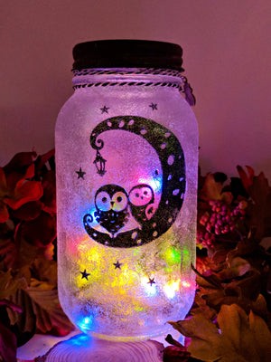 Owl Moon LED Mason Jar