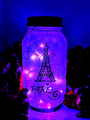 Paris LED Mason Jar Light