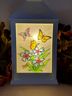 Hand Painted Flower and Butterfly LED Lantern