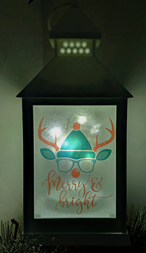 Happy Reindeer LED Lantern