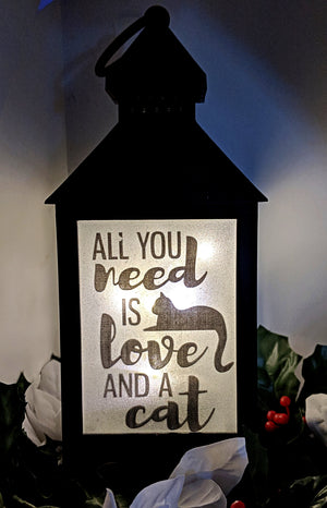 All you need is love and a cat LED lantern