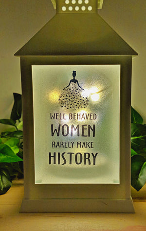 Women's inspirational Phrase LED Lantern