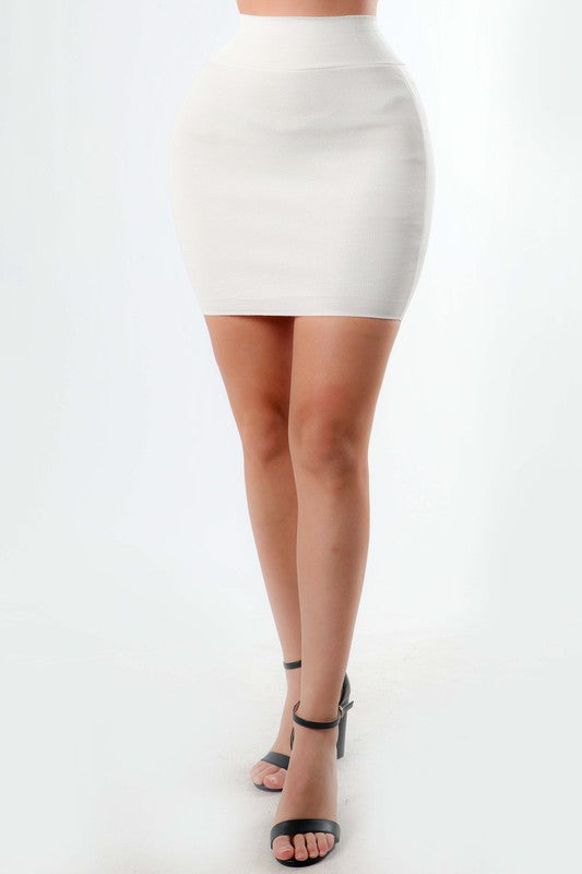 White Bodycon Skirt - Mint Leafe Boutique