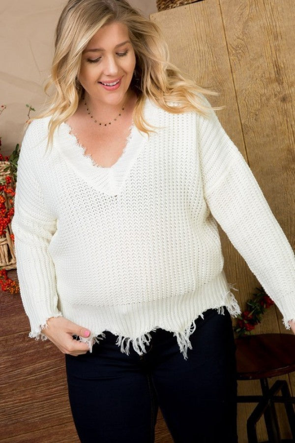 White Distress Sweater Curvy - Mint Leafe Boutique
