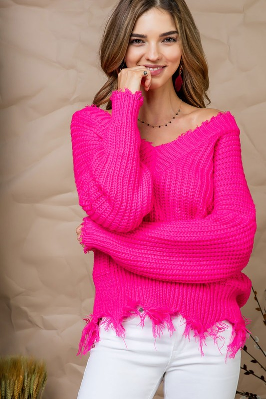 Neon Pink Distress Sweater - Mint Leafe Boutique