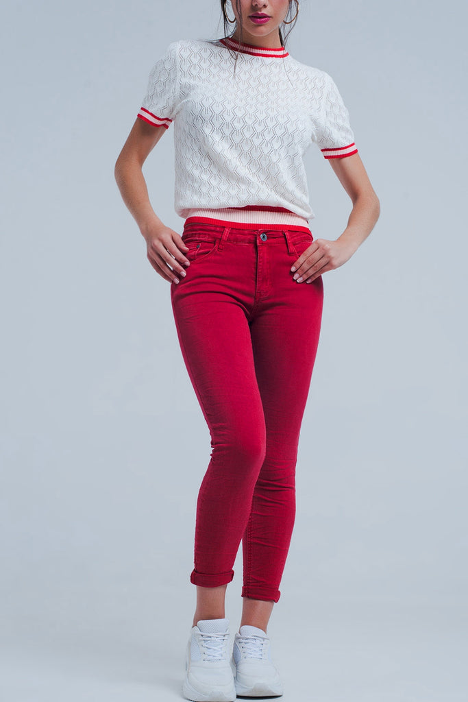 """Rudy"" Red Mid Rise Skinny Jeans - Mint Leafe Boutique"