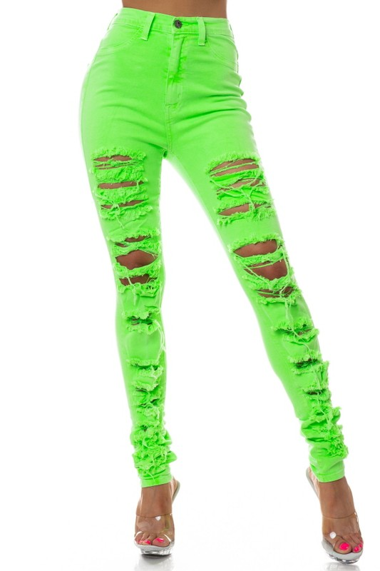 """Officially, Unofficial"" Neon Jeans - Mint Leafe Boutique"