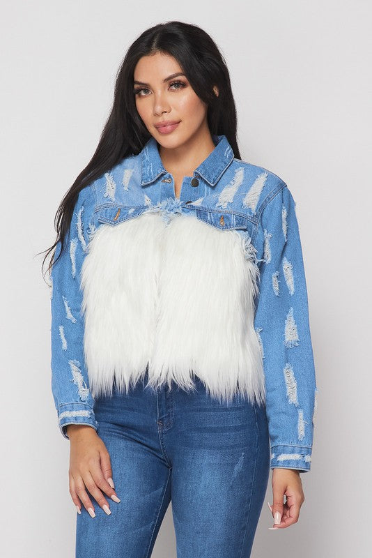 """The Stallion"" Fur Denim Jacket - Mint Leafe Boutique"