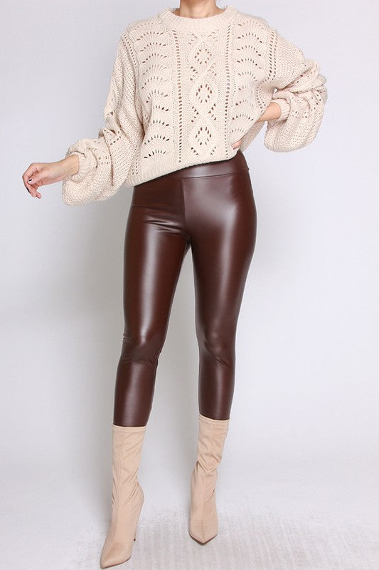 Burgundy Faux Leather Pants - Mint Leafe Boutique