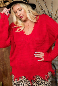 Red Distress Sweater Curvy - Mint Leafe Boutique