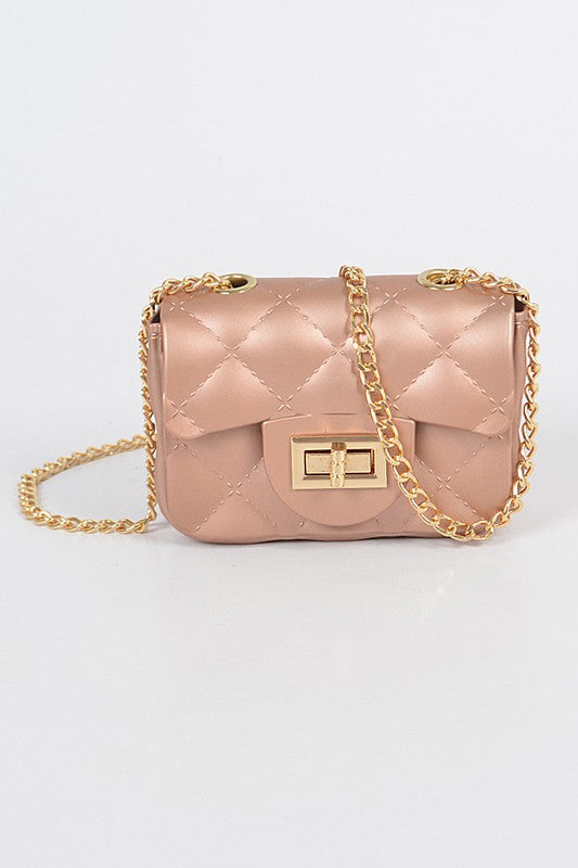 Jelly Matte Mini Crossbody Purse Pink - Mint Leafe Boutique